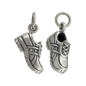 Sterling Silver Running Shoe Charm -  Sports Charms 18x10mm