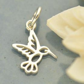 Sterling Silver Tiny Hummingbird Charm 16x10mm