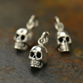 Sterling Silver Small Skull Charm 15x6mm