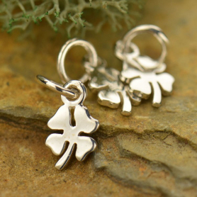 Sterling Silver Tiny Four Leaf Clover Charm 13x5mm