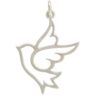 Sterling Silver Peace Dove Charm 28x18mm