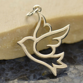 Sterling Silver Peace Dove Charm - Large