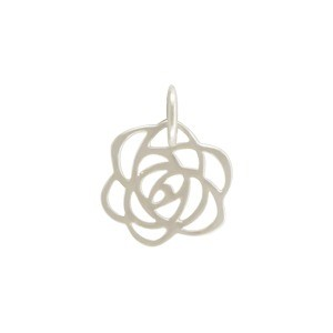 Sterling Silver Art Deco Rose Charm - Tiny 14x11mm
