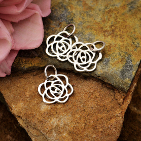 Sterling Silver Art Deco Rose Charm - Tiny