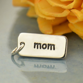 Sterling Silver Word Charm - Mom