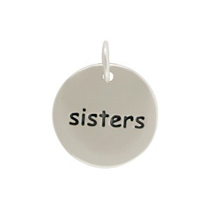 Sterling Silver Word Charm - Sisters - Round