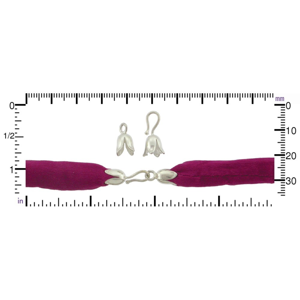 Silver  Clasp - Large Tulip Hook & Eye Crimp DISCONTINUED