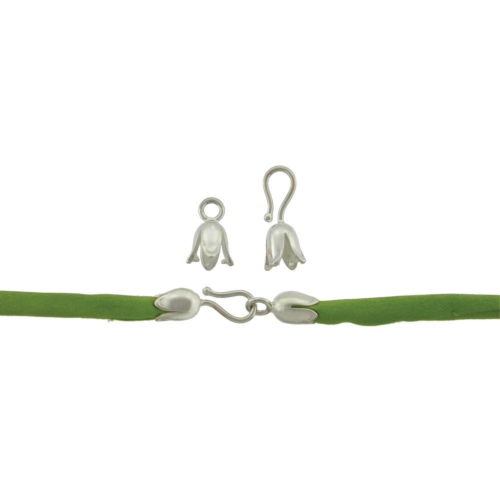 Silver Clasp- Medium Tulip Hook and Eye Crimp DISCONTINUED