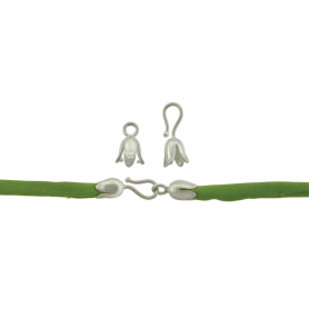 Silver Clasp- Medium Tulip Hook and Eye Crimp DISCONTINUED
