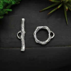 Sterling Silver Toggle Clasp - Branch Texture
