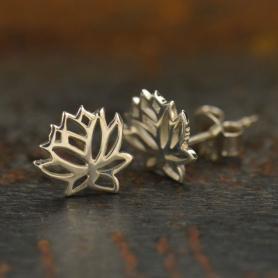Sterling Silver Stud Earrings - Openwork Lotus