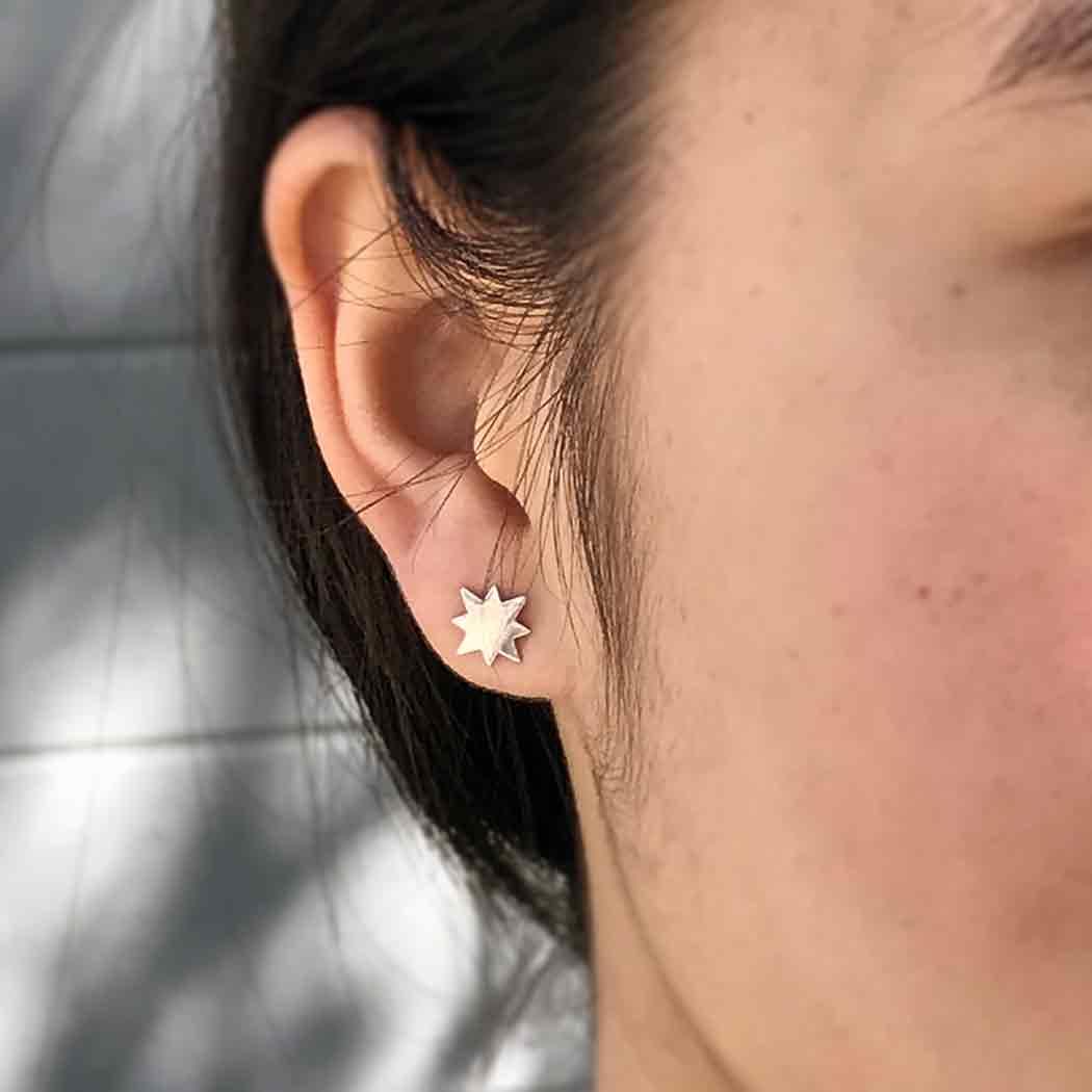 Sterling Silver Stud Earrings - North Star 7x5mm