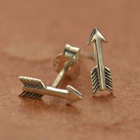 Sterling Silver Arrow Stud Earrings 10x3mm