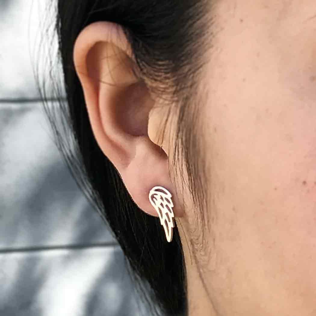 Sterling Silver Stud Earrings - Wing 15x6mm