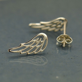 Sterling Silver Stud Earrings - Wing 15x6mm