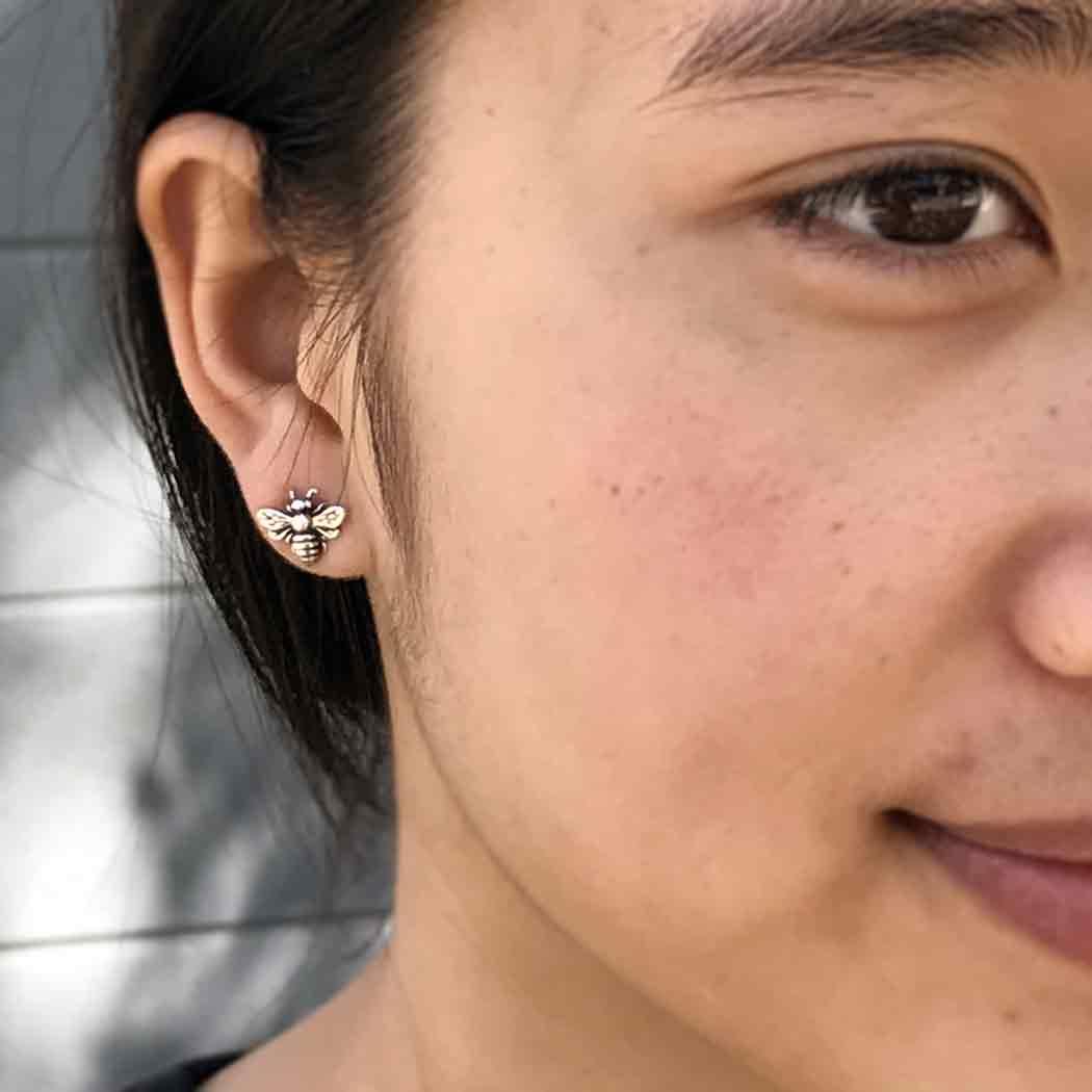 Sterling Silver Bee Stud Earrings 9x11mm