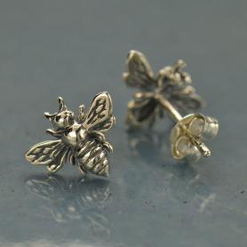 Sterling Silver Bee Stud Earrings -9.5mm