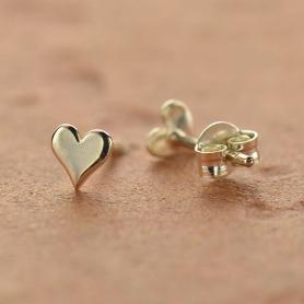 Sterling Silver Stud Earrings - Tiny Heart
