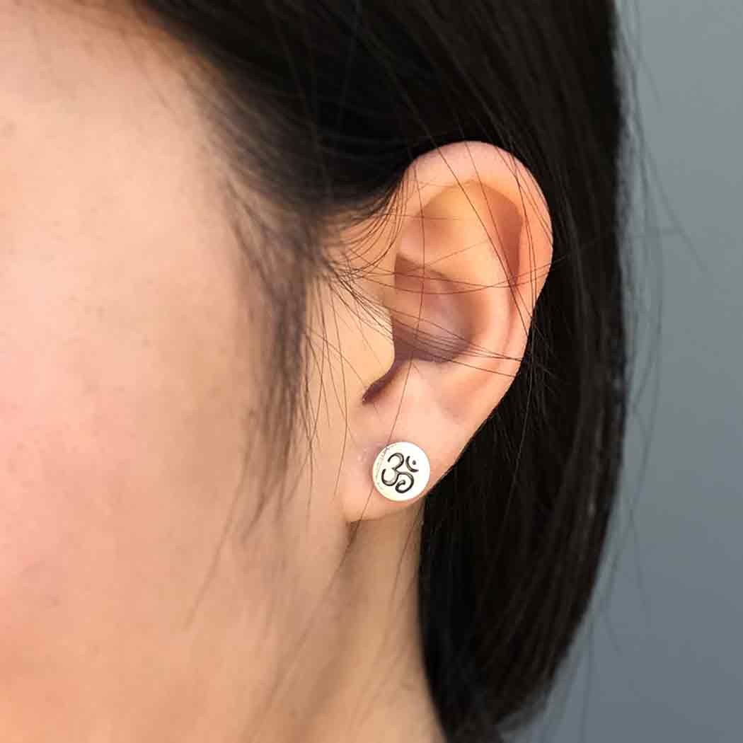 Sterling Silver Stud Earrings - Etched Om on Disk 8x8mm