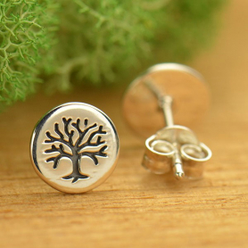 Sterling Silver Stud Earrings - Etched Tree of Life on Disk