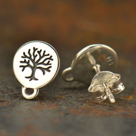 Silver Stud Earring Jewelry Part - Tree of Life with Loop