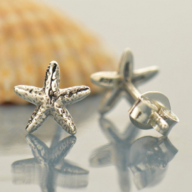 Sterling Silver Stud Earrings - Starfish 8x7mm