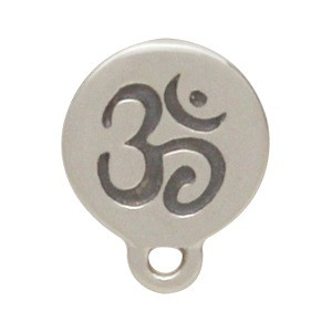 Silver Stud Earring Jewelry Part - Om Disk with Loop 9x7mm