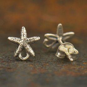 Silver Stud Earring Jewelry Part - Starfish with Loop