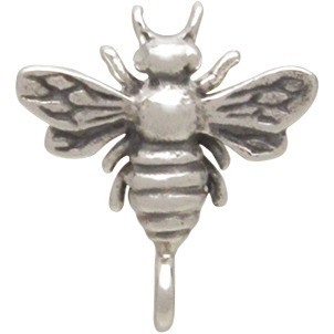 Silver Stud Earring Part - Bumble Bee with Loop 12x11mm