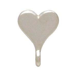 Silver Stud Earrings Part - Heart with Loop 9x7mm