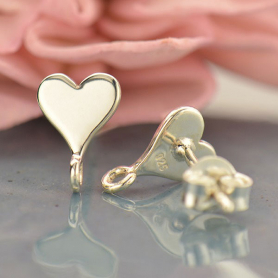 Silver Stud Earrings Part - Heart with Loop 9x7mm