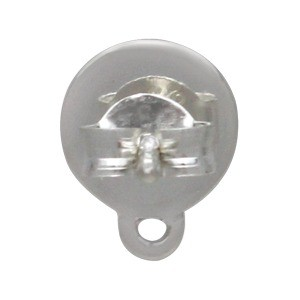 Silver Stud Earrings - Paw Print Disk with Loop 9x7mm