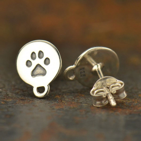 Silver Stud Earrings - Paw Print Disk with Loop 9x7mm