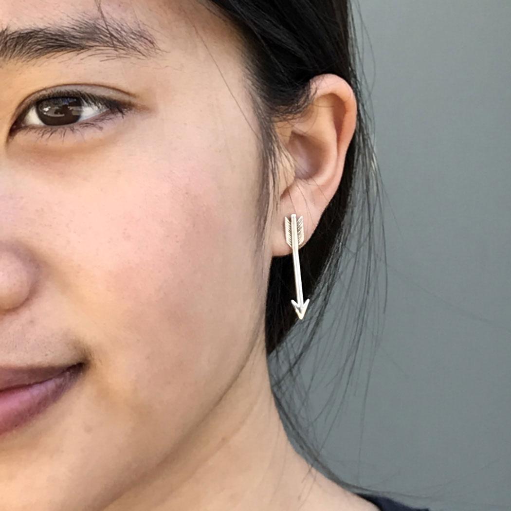 Sterling Silver Post Earrings - Large Arrow Earrings 29x5mm