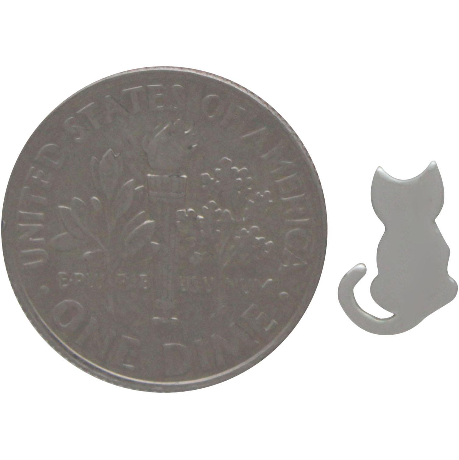 Sterling Silver Tiny Cat Stud Earrings 9x6mm