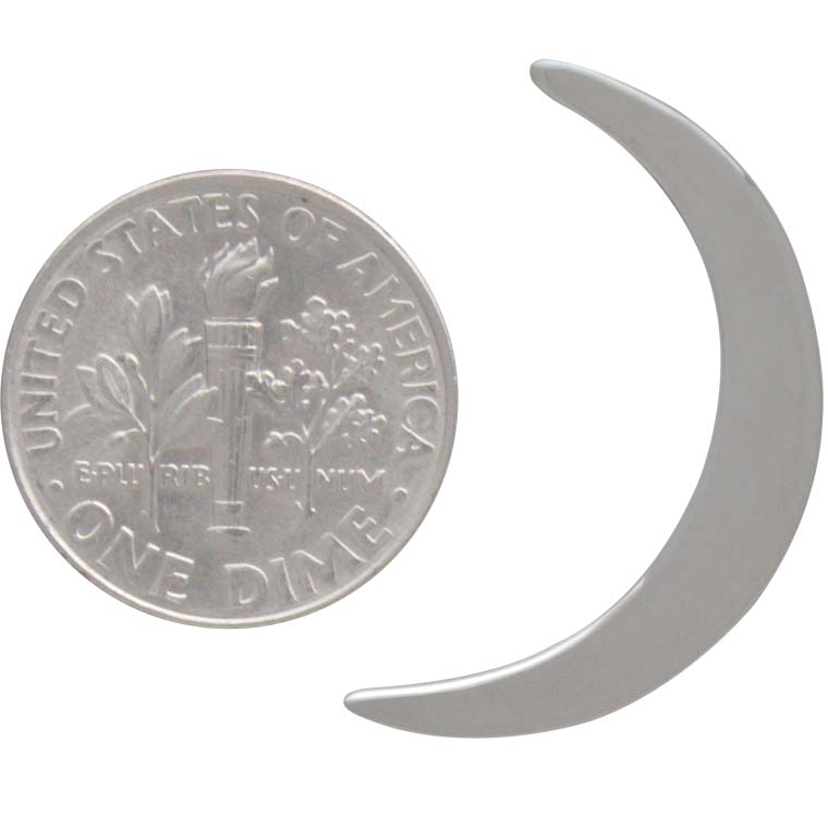 Sterling Silver Large Crescent Moon Post Earrings 26x16mm