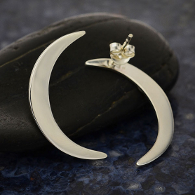 Sterling Silver Large Crescent Moon Post Earrings -26mm