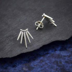 Sterling Silver Five Spike Post Earrings 12x10mm