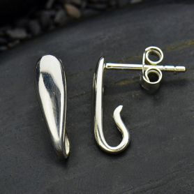 Silver Stud Earring -  Teardrop with Loop 14x4mm