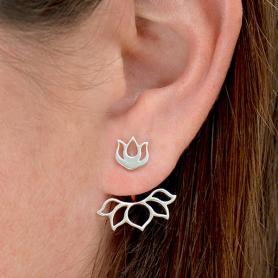 Sterling Silver Lotus Ear Jacket