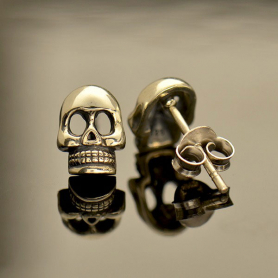 Sterling Silver Skull Post Earring 9x6mm