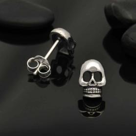 Sterling Silver Skull Post Earring