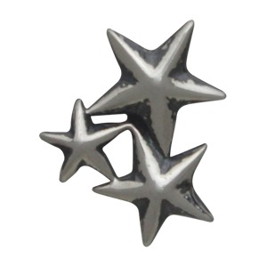 Sterling Silver Star Cluster Post Earrings 10x8mm