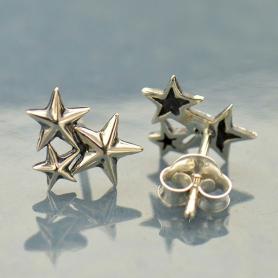 Sterling Silver Star Cluster Post Earrings