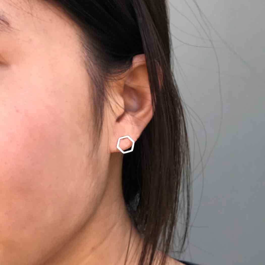 Sterling Silver Honeycomb Hexagon Post Earrings