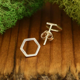 Sterling Silver Honeycomb Hexagon Post Earrings 9x9mm