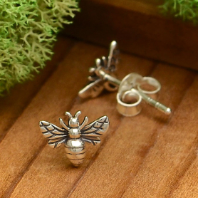 Sterling Silver Tiny Bee Post Earrings 6x8mm