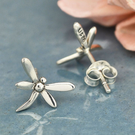 Sterling Silver Dragonfly Post Earrings 9x10mm