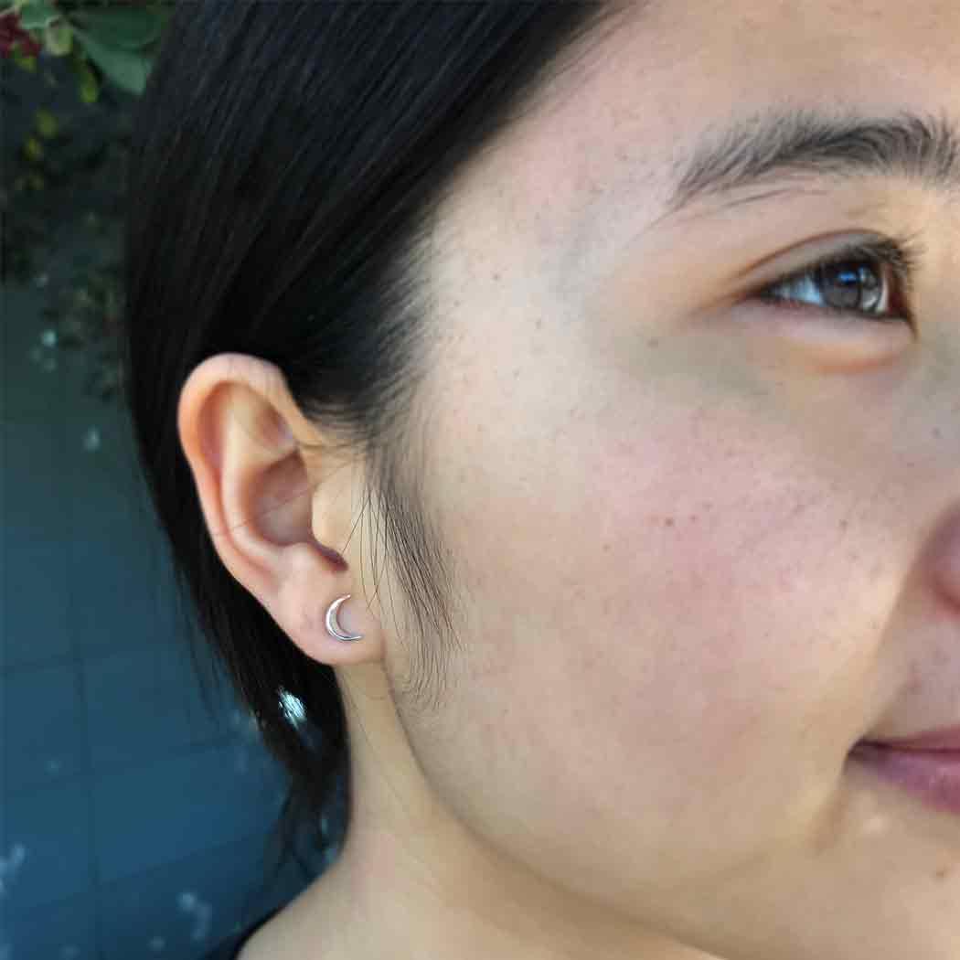 Sterling Silver Moon Post Earrings 7x5mm
