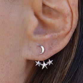 Sterling Silver Moon and Star Ear Jacket - Star Earrings